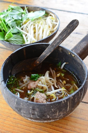 Thai spicy noodle in coconut shell Stock Photo - 18827679