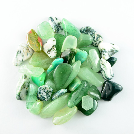 Green stones isolated Stock Photo