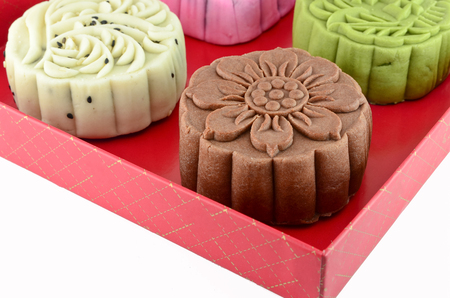 Colorful mooncake in red box photo