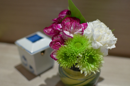 small flower vase on dining table stock photo picture and royalty