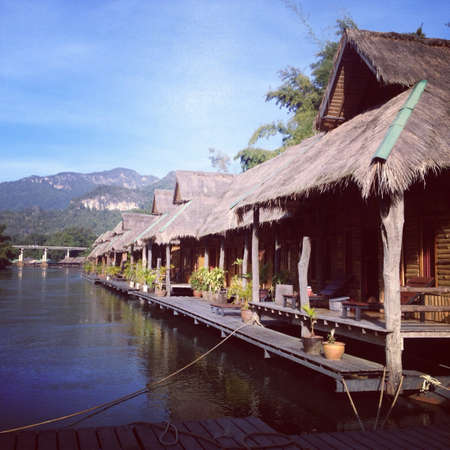 house float on water: Raft in Kanchanaburi Thailand