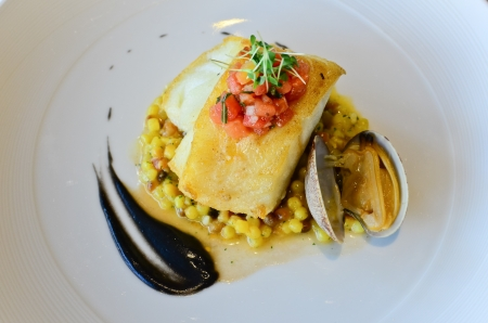 cod fish: Seared Atlantic Cod, Fregola Sarda, Black Garlic   Vongole