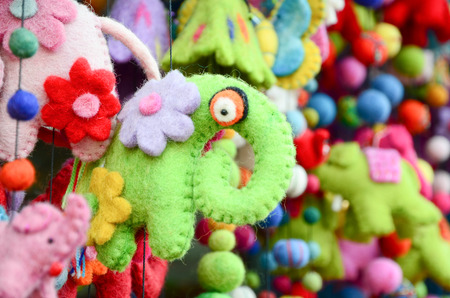 playing the market: Colorful doll made by cloth