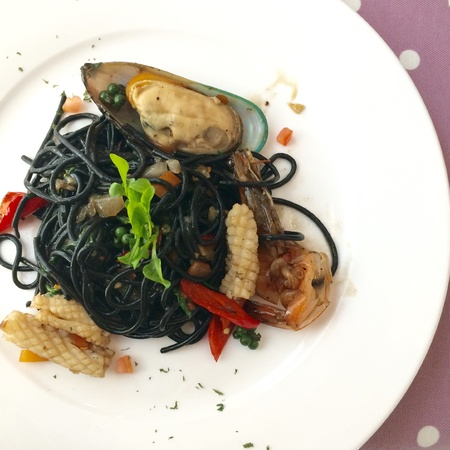 black white red: Spicy seafood spaghetti