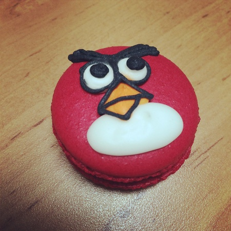 black white red: Angry bird macaroon