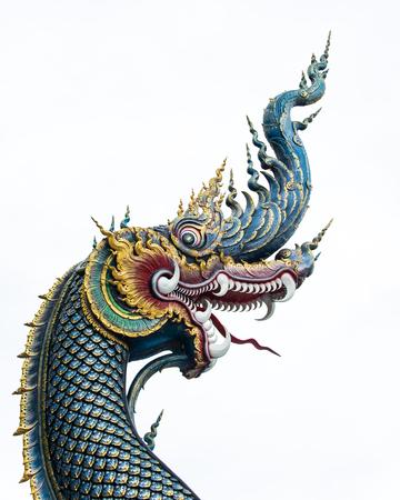 Head of golden Naga isolation Stock Photo