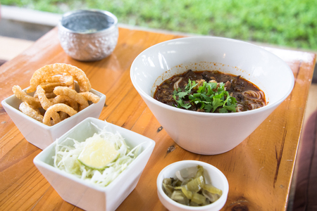 Set of rice vermicelli with Thai Northern style curry Stock Photo