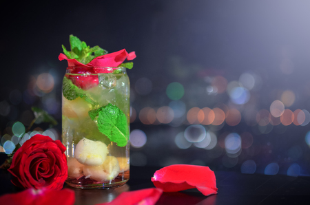 Melon soda with red rose decoration for valentine