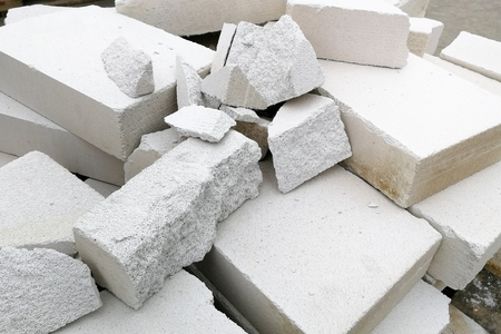 Detail pile of broken autoclaved aerated concrete for background 版權商用圖片