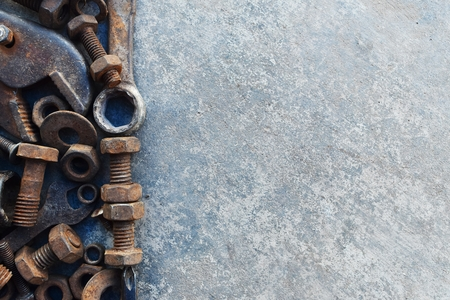 many rust steel on cement ground