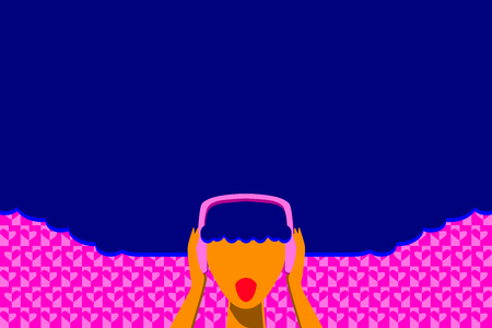 curly hair woman listen music in happy time Reklamní fotografie - 123904222