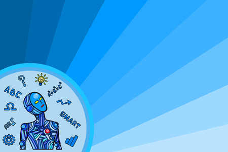 blue robot and blue background