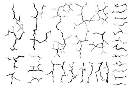 crack ground for abstract background on white background Vettoriali