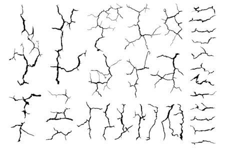 Grieta de tierra para fondo abstracto sobre fondo blanco. Ilustración de vector