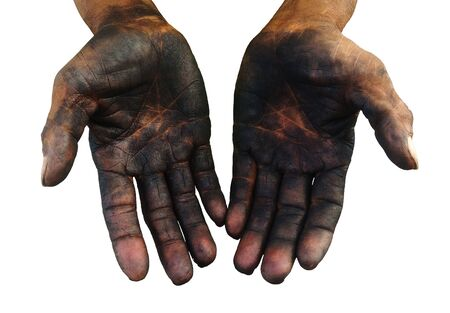 isolated dirty hand of worker after work hard for a long time on white background 写真素材