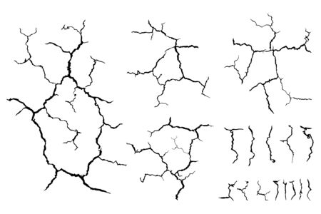 lots lines of crack ground for abstract background on white background