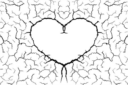 lots lines of crack ground and heart shape for abstract background on white background