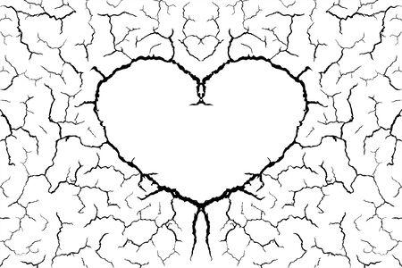 molte linee di crepa a terra e a forma di cuore per sfondo astratto su sfondo bianco Vettoriali
