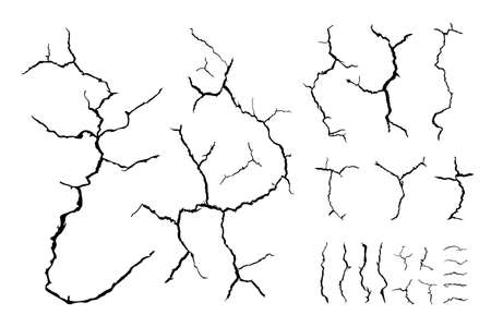lots lines of crack ground for abstract background on white background Ilustração