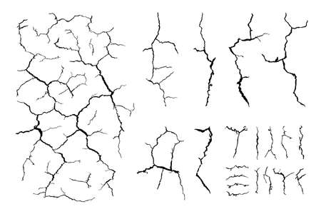 lots lines of crack ground for abstract background on white background Vector Illustration