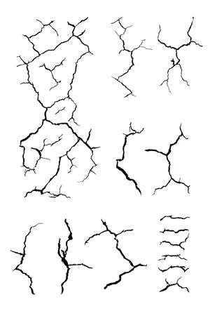 details many lines of crack ground for abstract background on white background Vector Illustration