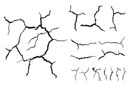 details many lines of crack ground for abstract background on white background