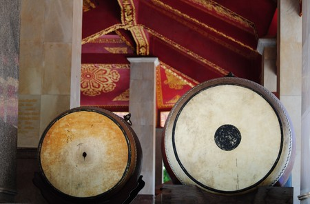 placed: Double drums placed in front of a Chinese temple