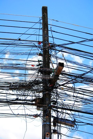familiar: Cables tangle seen familiar sight in Thailand
