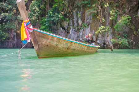 dive trip: Thai speed boat on a seashore in Thailand