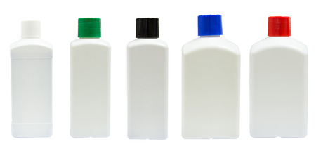 reagent: medicine white reagent bottle isolated on a white background