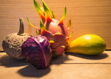 bisected: Pumpkins  and dragon fruit