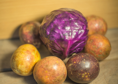 bisected: Passion fruit Stock Photo