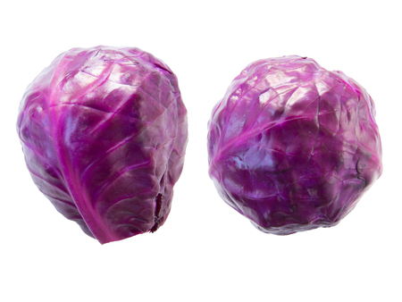 bisected: Purple cabbage isolate on white background