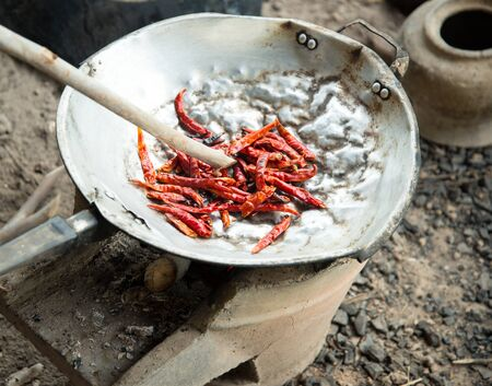 evaporating: Red Chilly in cooking