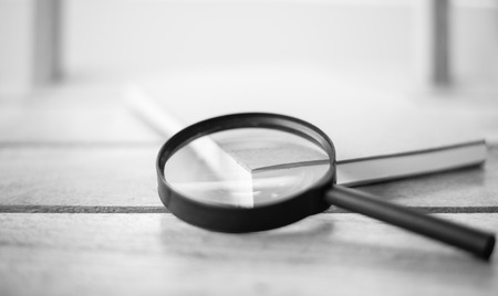 object glass: Magnifying Glass black & white tone Stock Photo