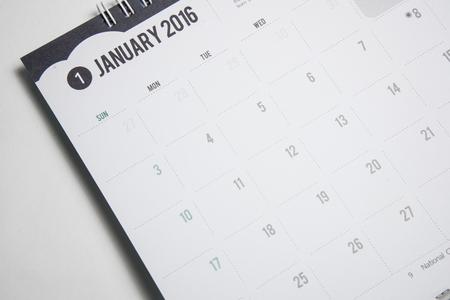 january calendar: Closeup  calendar 2016 JANUARY in dark tone. Stock Photo