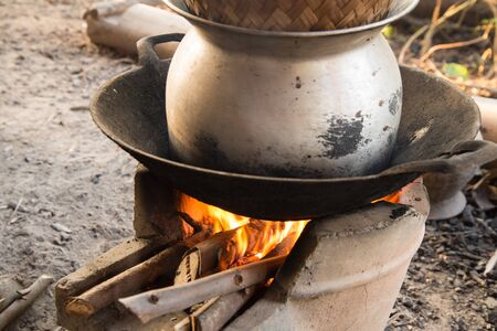 evaporating: Thai stove kitchen cooking tool Stock Photo