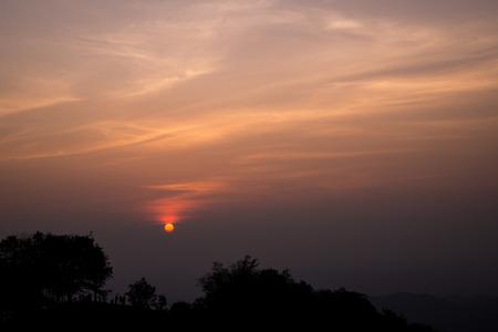 hdri: sunrise with clouds Stock Photo