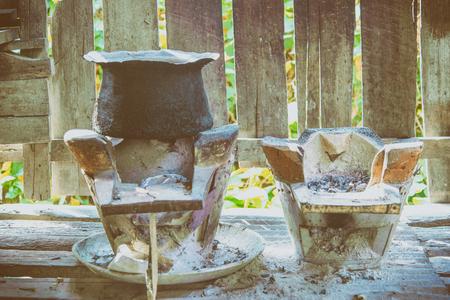 brick kiln: thai stove in vintage tone.
