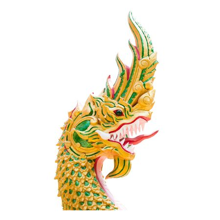 Heads of Naka snake or Naga or serpen on white background.