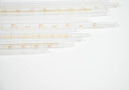 micropipette: Close up sero pipette laboratory equipment on white background.