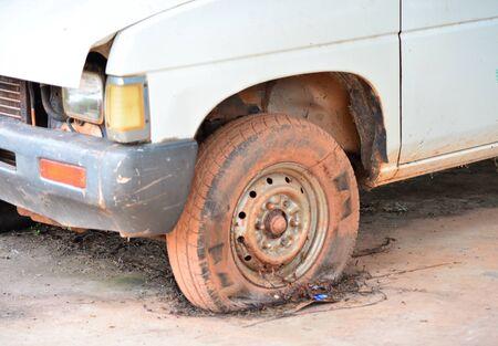 tire: burst tire