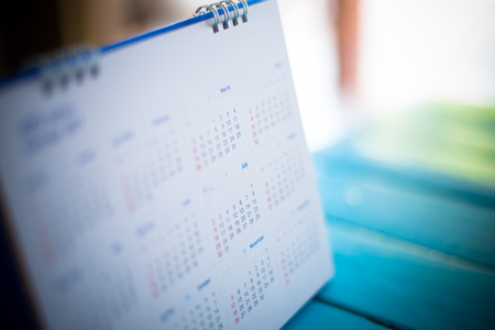 blue tone: Blurred calendar page blue tone