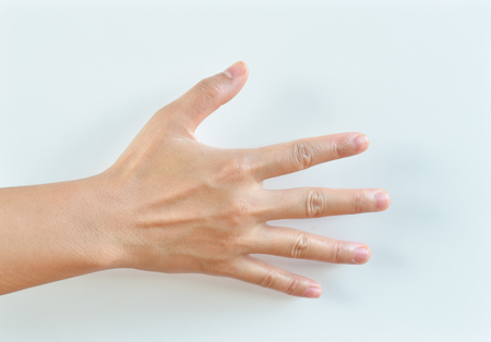 cut wrist: hands on white backgrounds