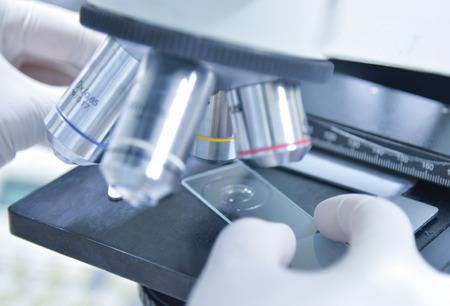 Scientifique en utilisant un microscope dans un laboratoire