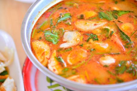 laotian: Thai Tom Yam soup sae food.