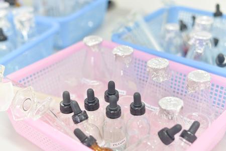 science laboratory test tubes , laboratory equipment Stock Photo
