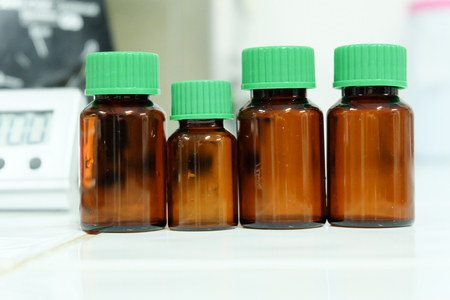 Brown Reagent Bottle in laboratory.