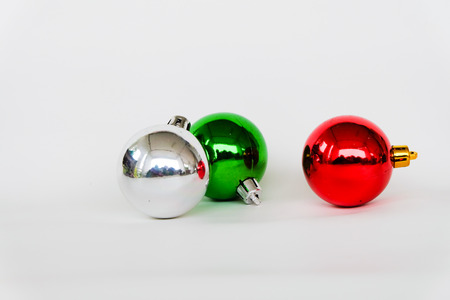 christmas balls on white background.