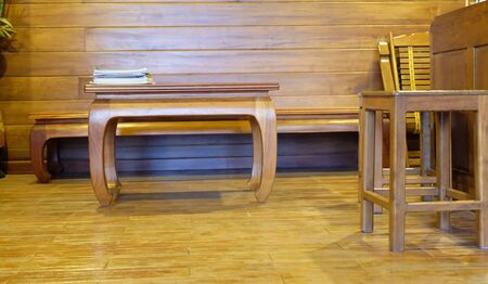 living room: wooden living room Stock Photo